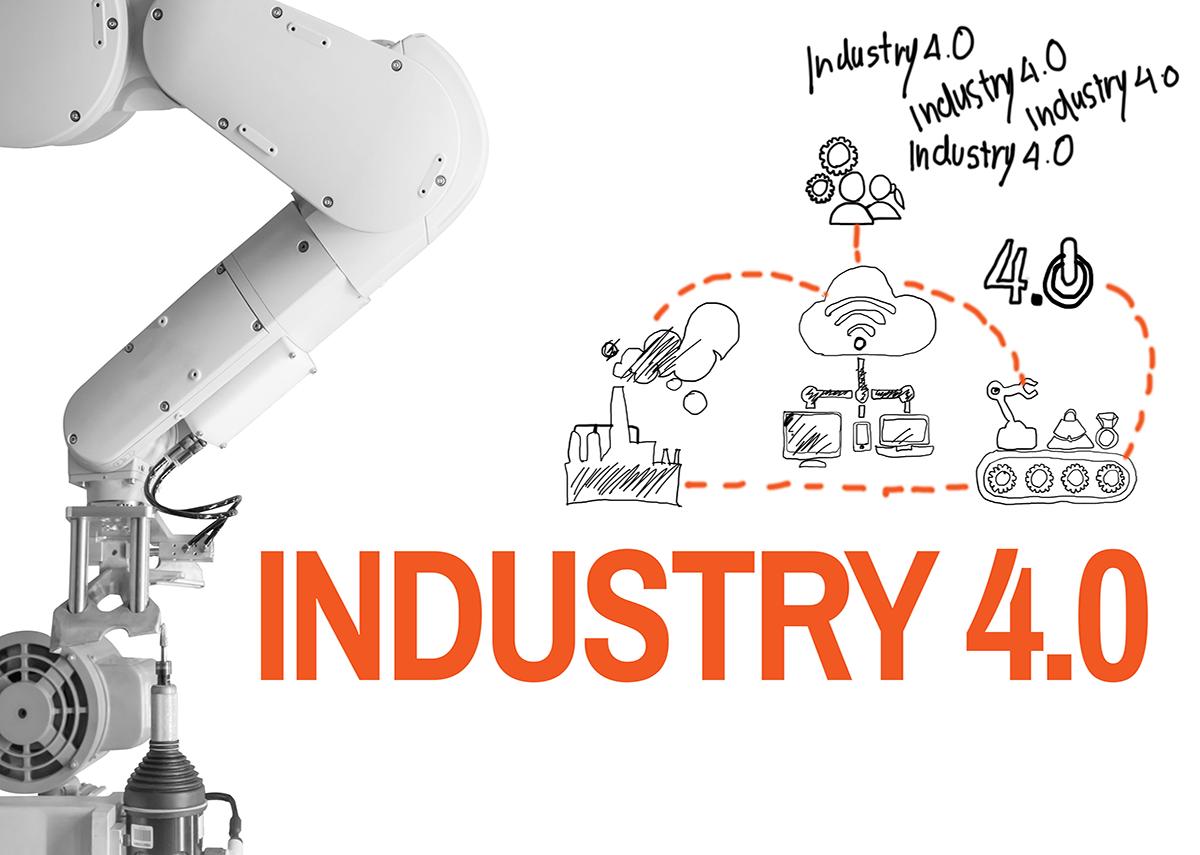 Industrie 4.0 - Sketch Hand - Die künftige Revolution Cyberphysik Systeme